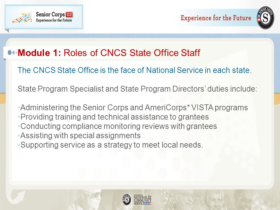 Module 1: Roles of CNCS State Office Staff