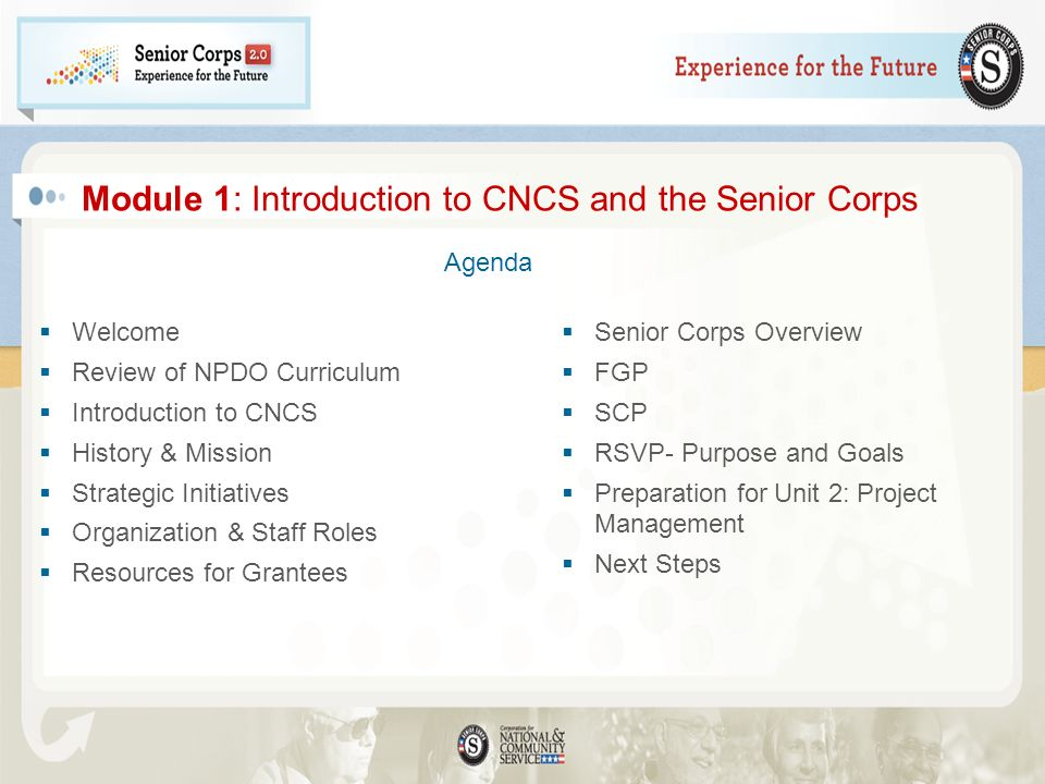 Module 1: Introduction to CNCS and the Senior Corps