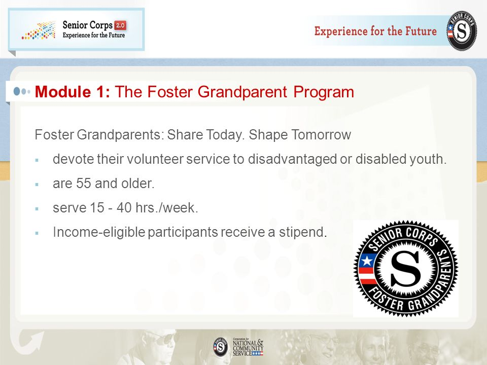 Module 1: The Foster Grandparent Program