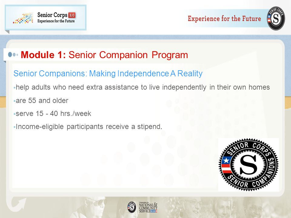 Module 1: Senior Companion Program