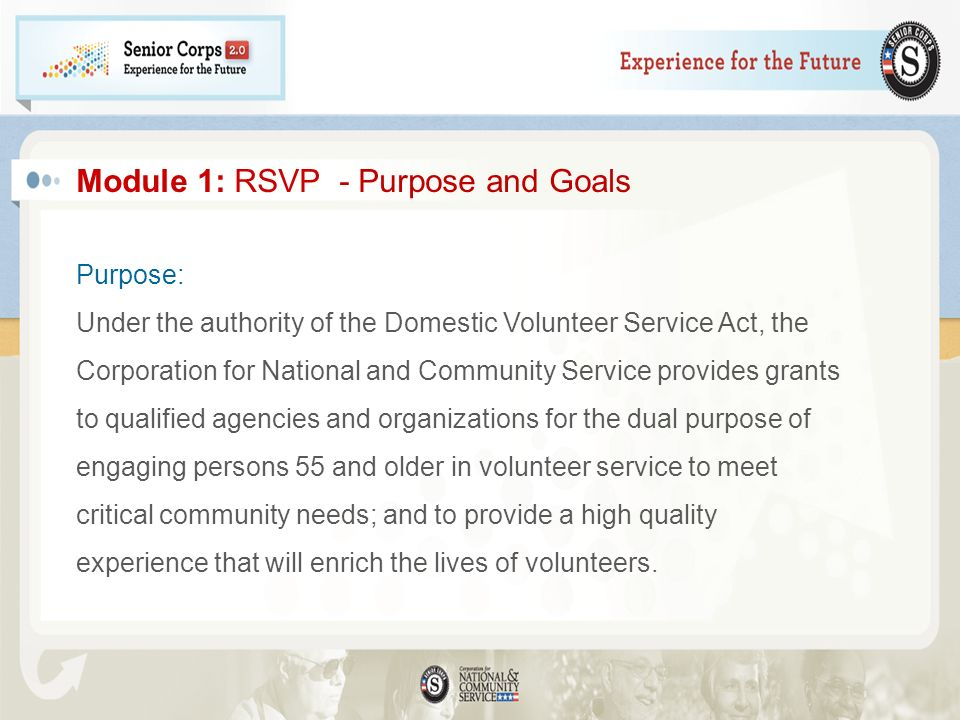 Module 1: RSVP - Purpose and Goals