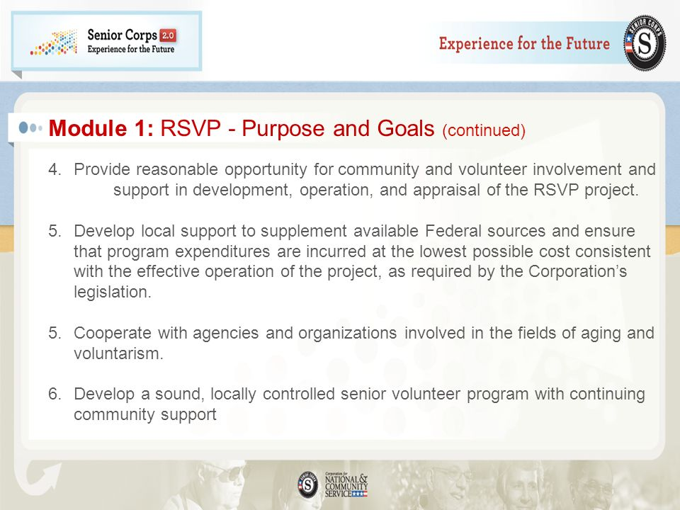 Module 1: RSVP - Purpose and Goals (continued)