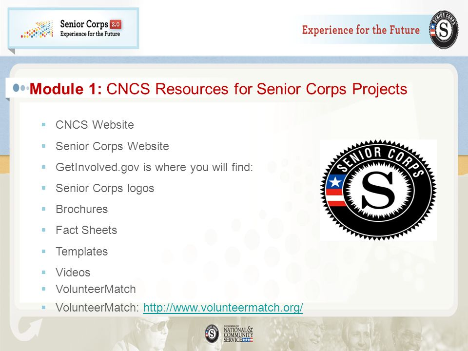 Module 1: CNCS Resources for Senior Corps Projects