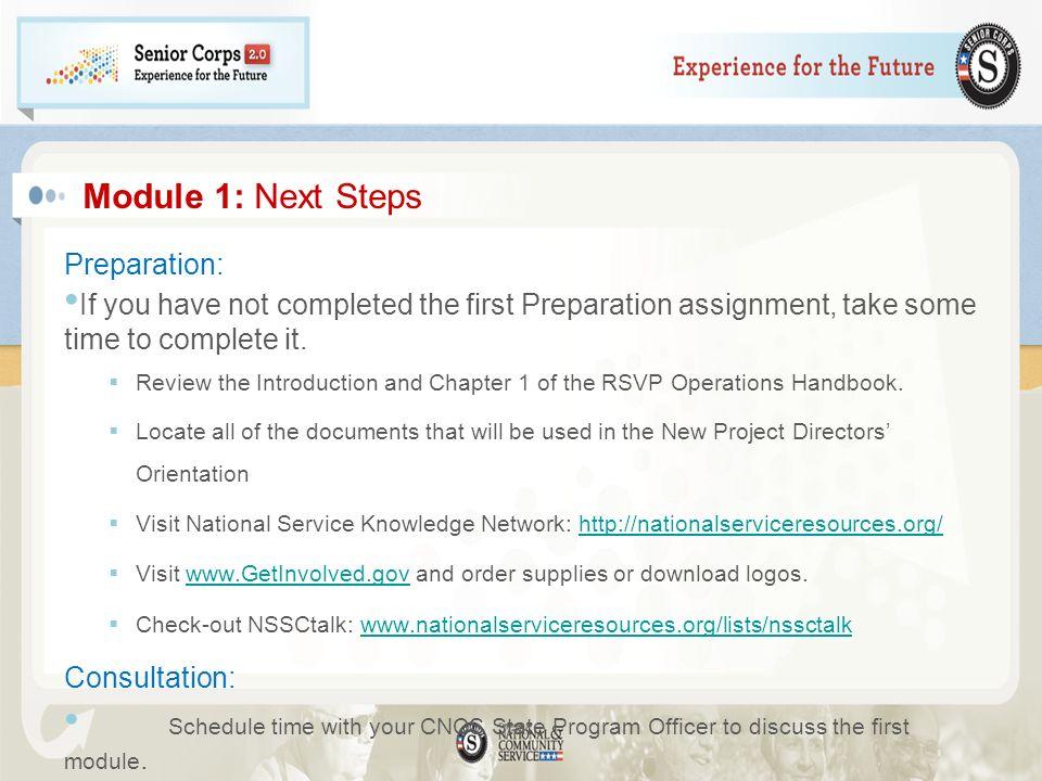 Module 1: Next Steps Preparation: