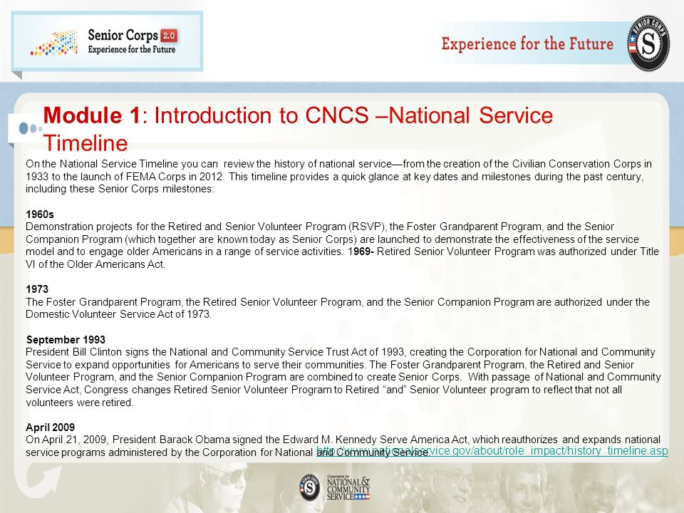 Module 1: Introduction to CNCS –National Service Timeline