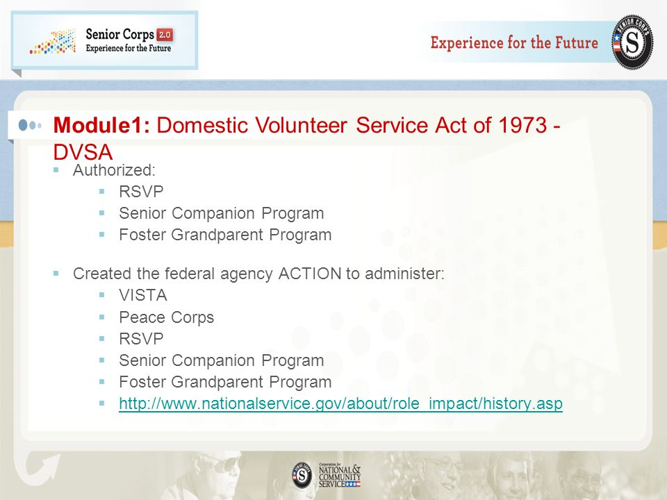Module1: Domestic Volunteer Service Act of 1973 - DVSA