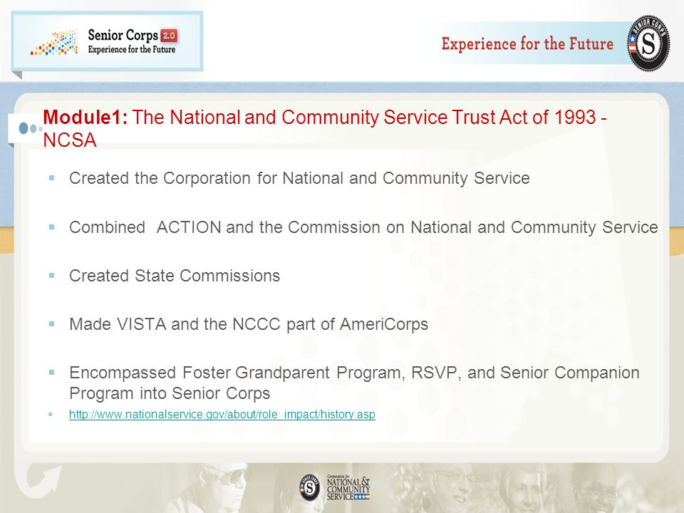 Module1: The National and Community Service Trust Act of 1993 - NCSA