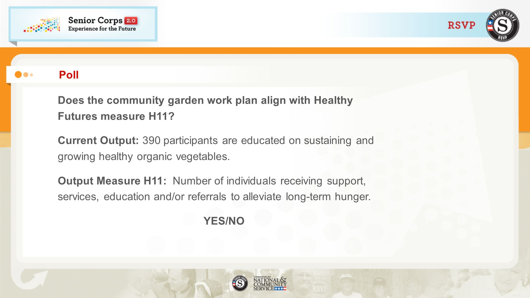 Poll Does the community garden work plan align with Healthy Futures measure H11
