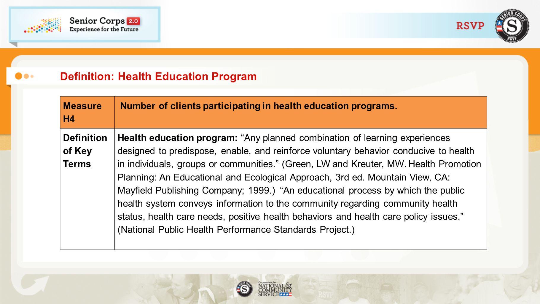 Definition: Health Education Program