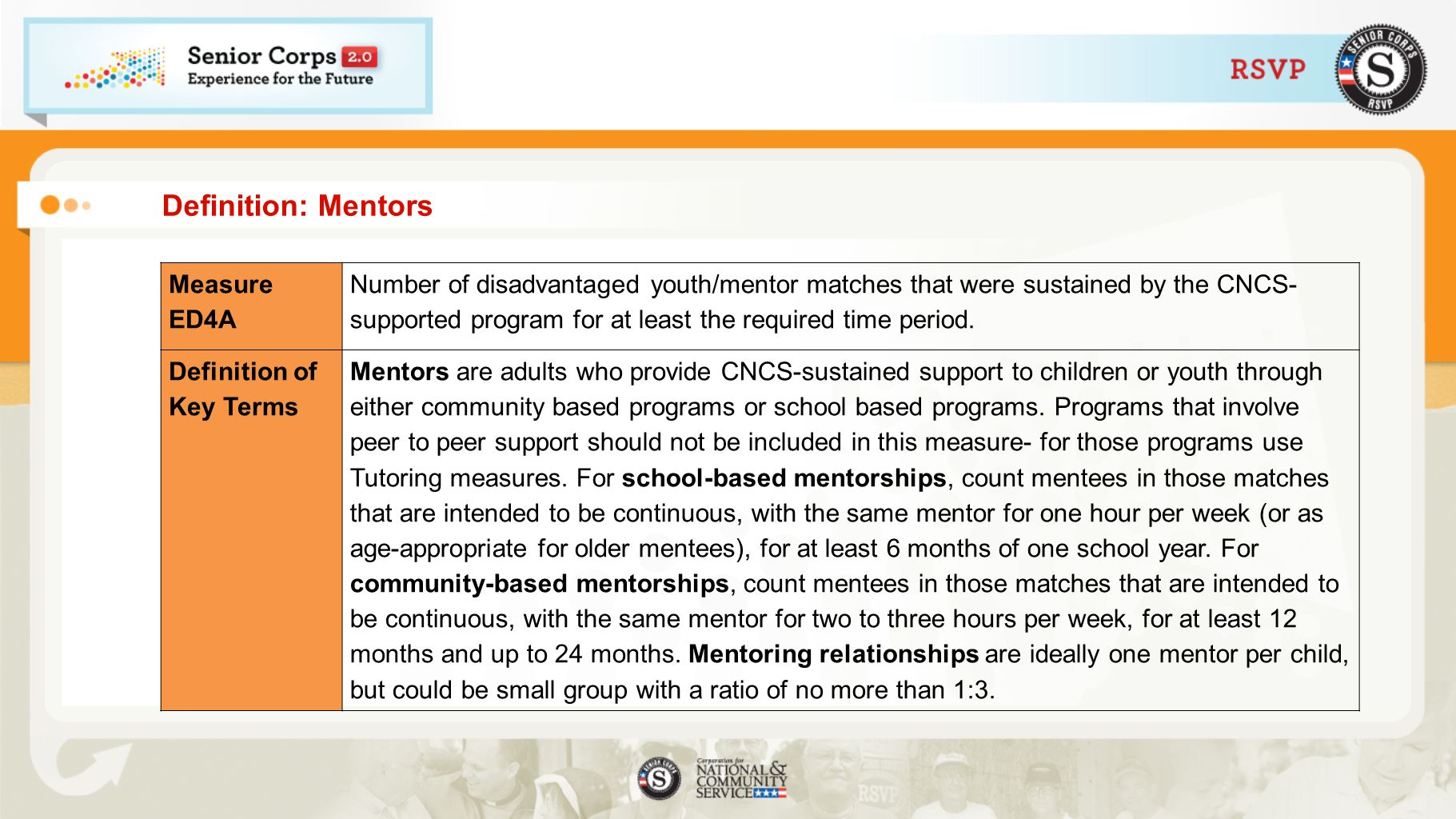 Definition: Mentors Measure ED4A