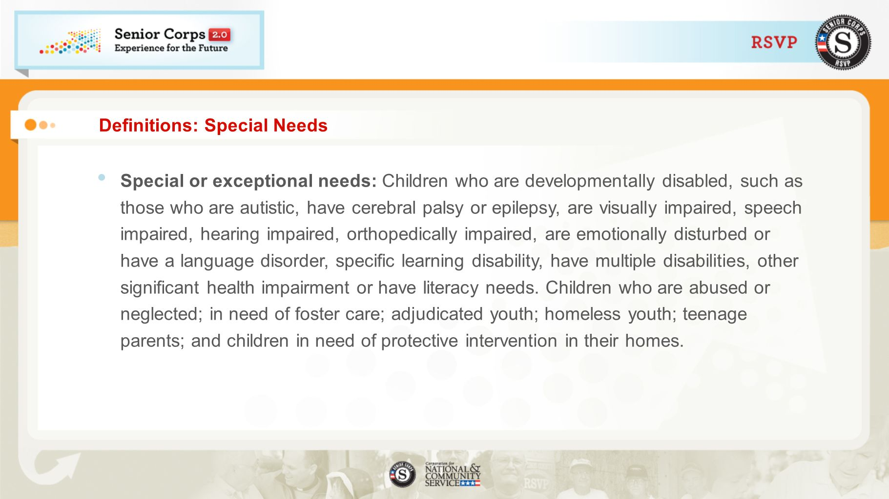 Definitions: Special Needs