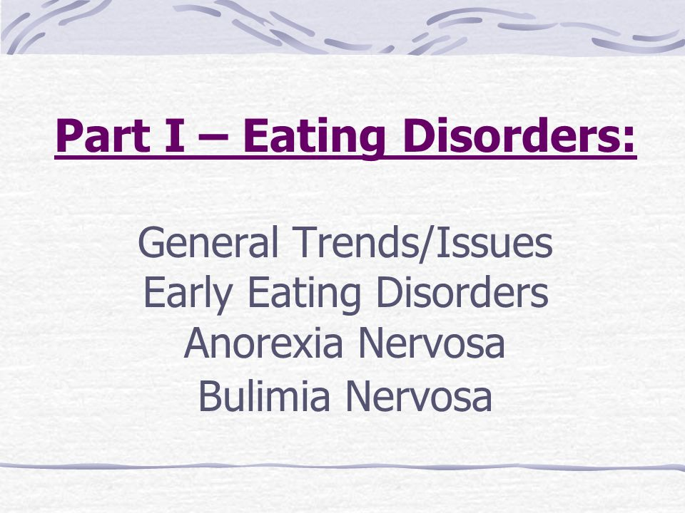 an introduction to the issue of eating disorders anorexia nervosa and bulimia nervosa Binge eating treatment bulimia symptoms  interact with life events to initiate and maintain eating disorders anorexia is not fun  a (2017) introduction to anorexia nervosa psych .