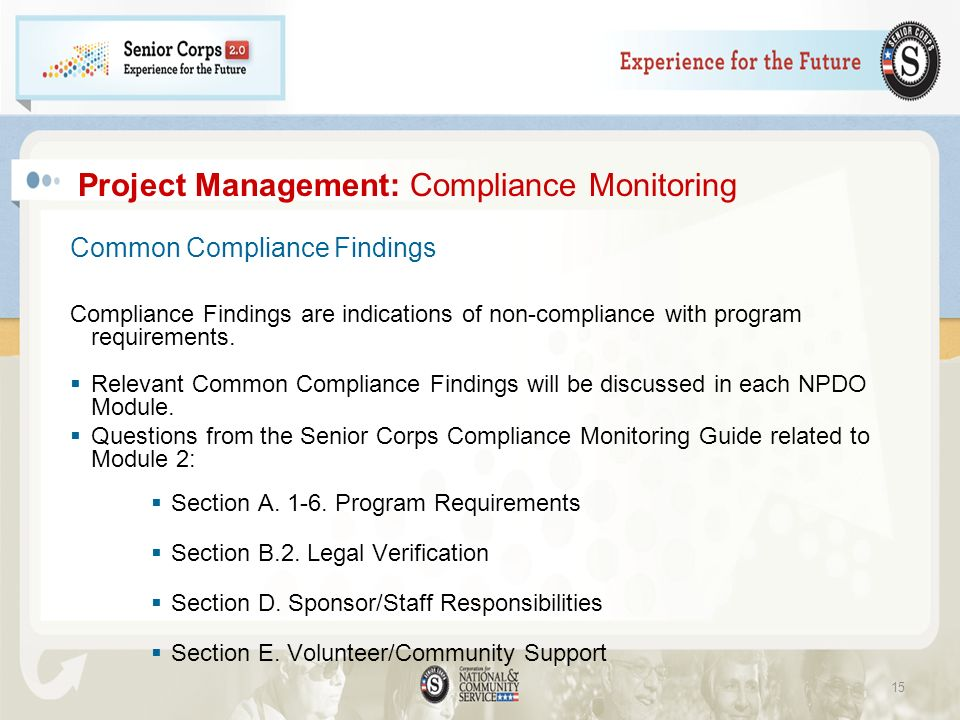 Project Management: Compliance Monitoring