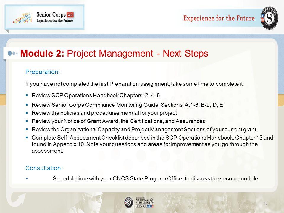 Module 2: Project Management - Next Steps