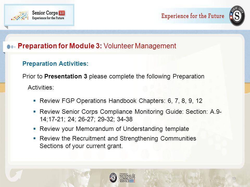 Preparation for Module 3: Volunteer Management