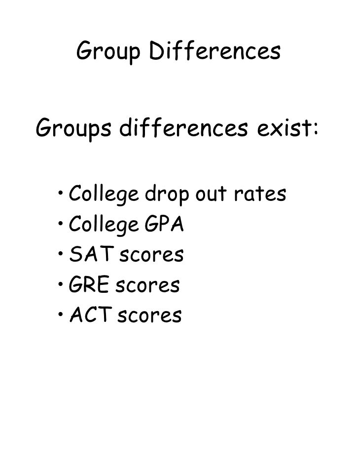 Groups differences exist: