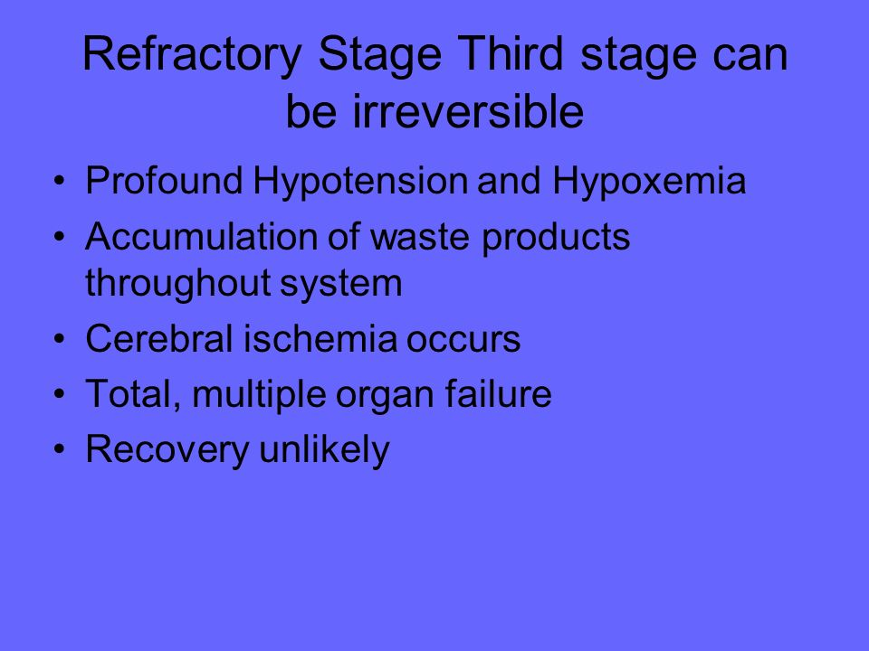 Refractory Stage Third stage can be irreversible