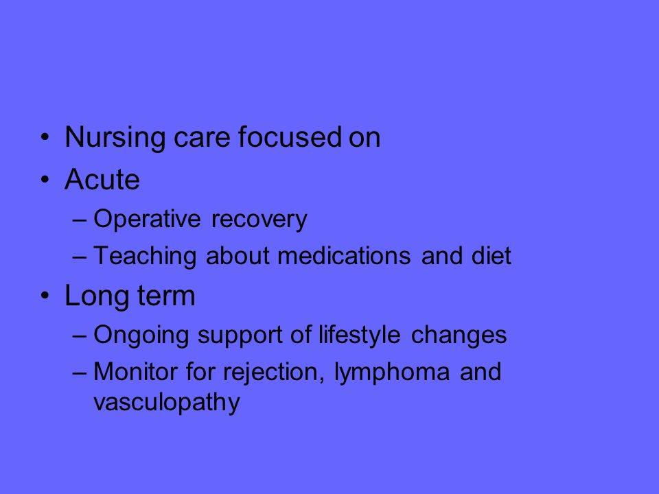 Nursing care focused on Acute