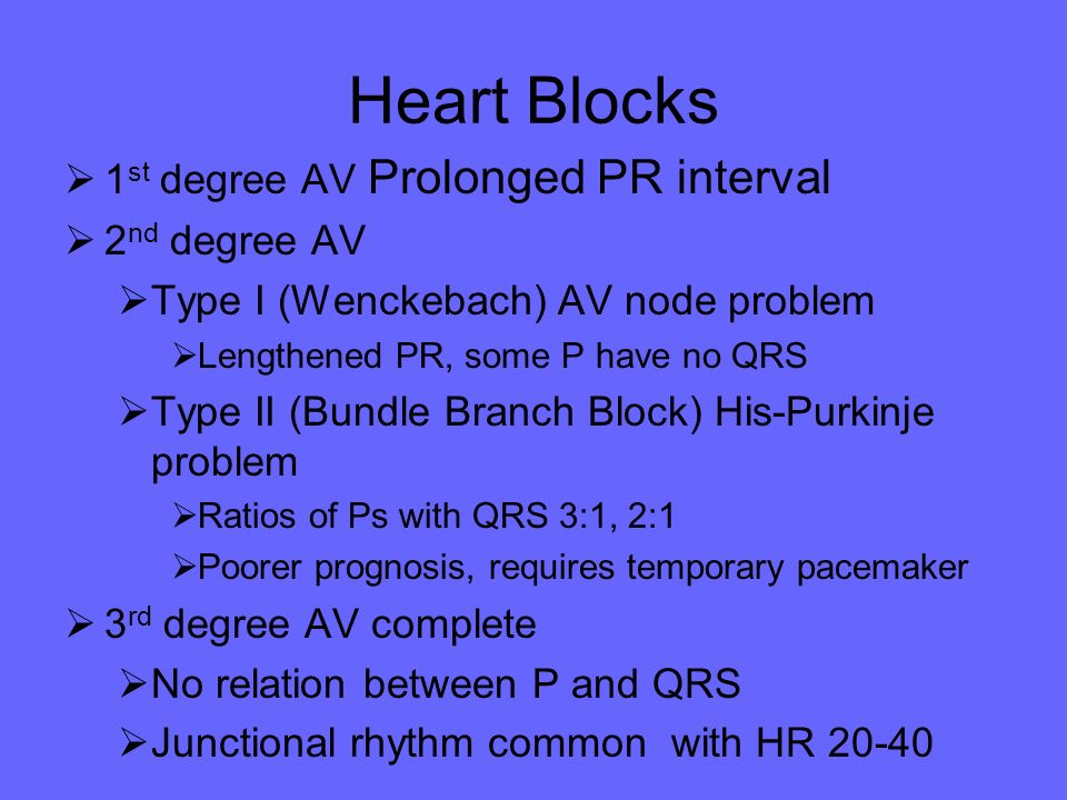 Heart Blocks 1st degree AV Prolonged PR interval 2nd degree AV