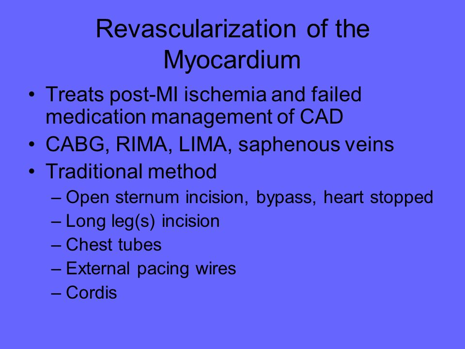 Revascularization of the Myocardium