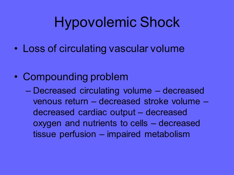 Hypovolemic Shock Loss of circulating vascular volume