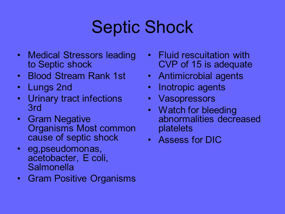 Septic Shock Medical Stressors leading to Septic shock
