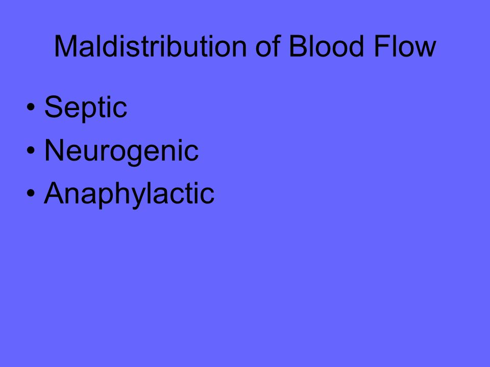 Maldistribution of Blood Flow