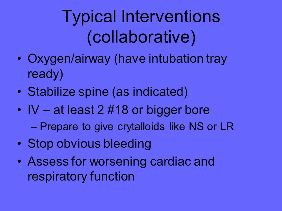 Typical Interventions (collaborative)