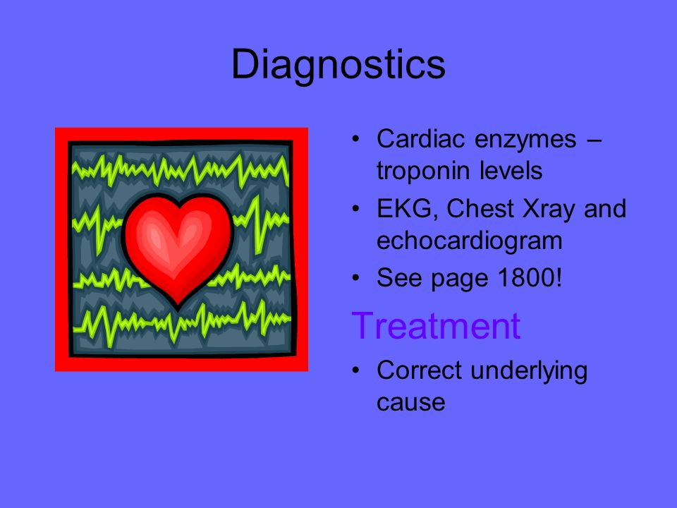 Diagnostics Treatment Cardiac enzymes – troponin levels