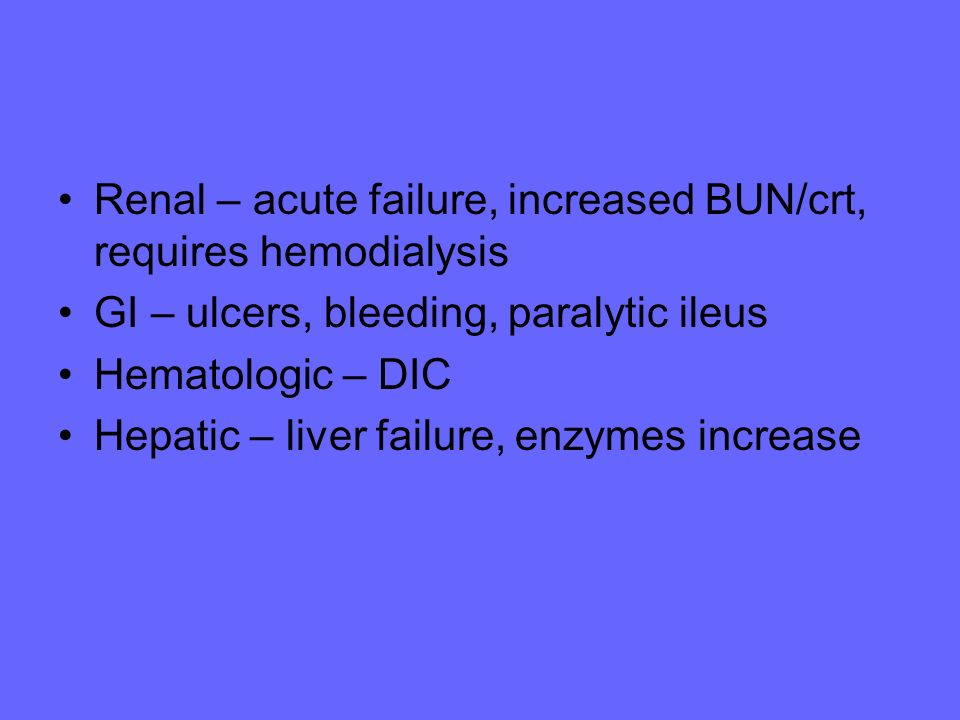 Renal – acute failure, increased BUN/crt, requires hemodialysis