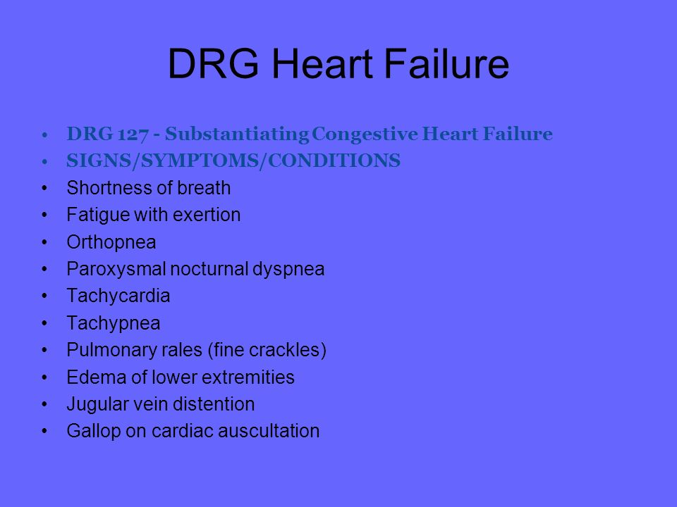 DRG Heart Failure DRG Substantiating Congestive Heart Failure