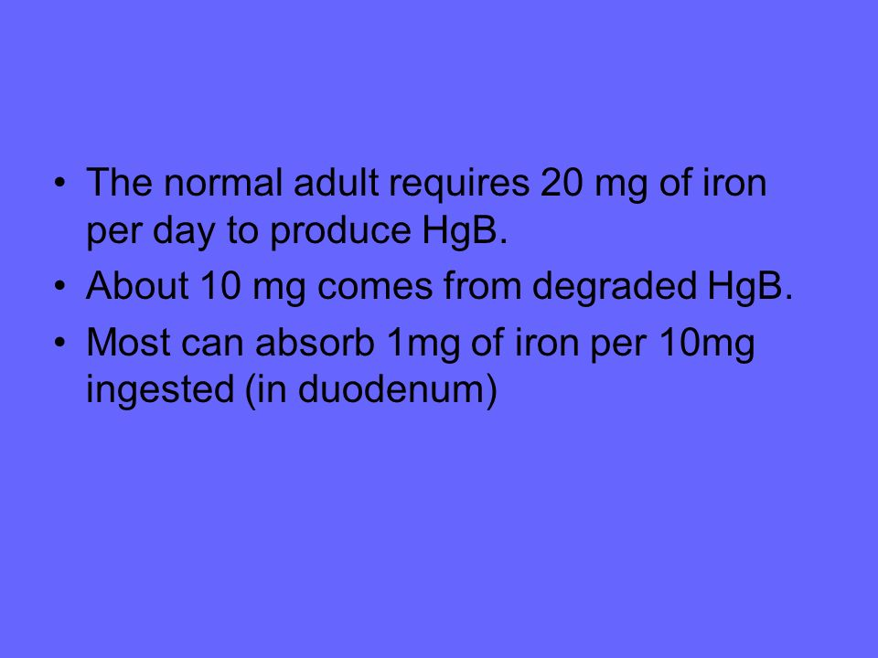 The normal adult requires 20 mg of iron per day to produce HgB.
