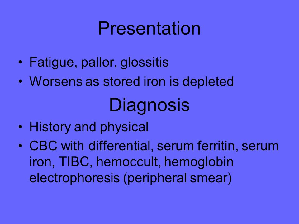 Presentation Diagnosis Fatigue, pallor, glossitis