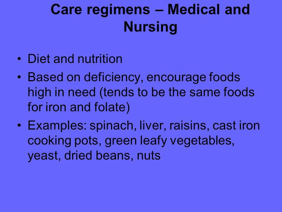 Care regimens – Medical and Nursing