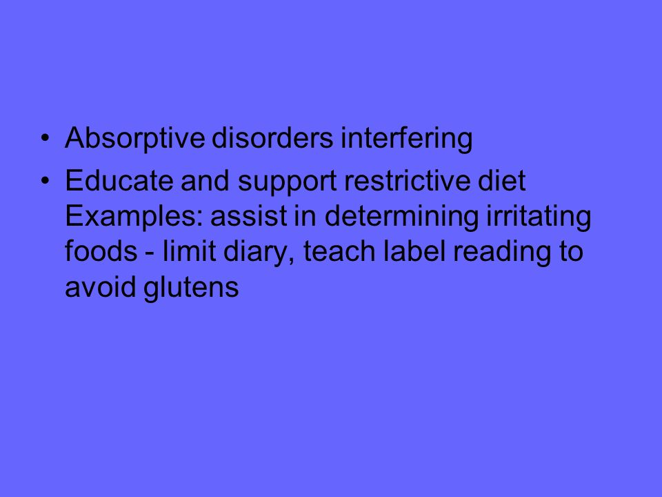 Absorptive disorders interfering