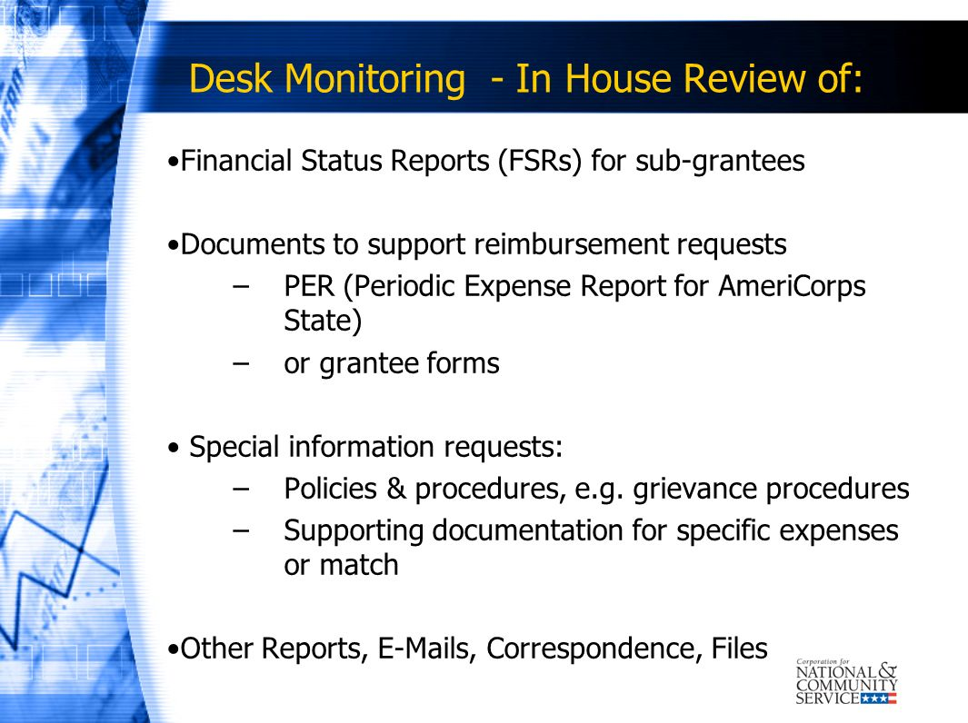 Desk Monitoring - In House Review of: