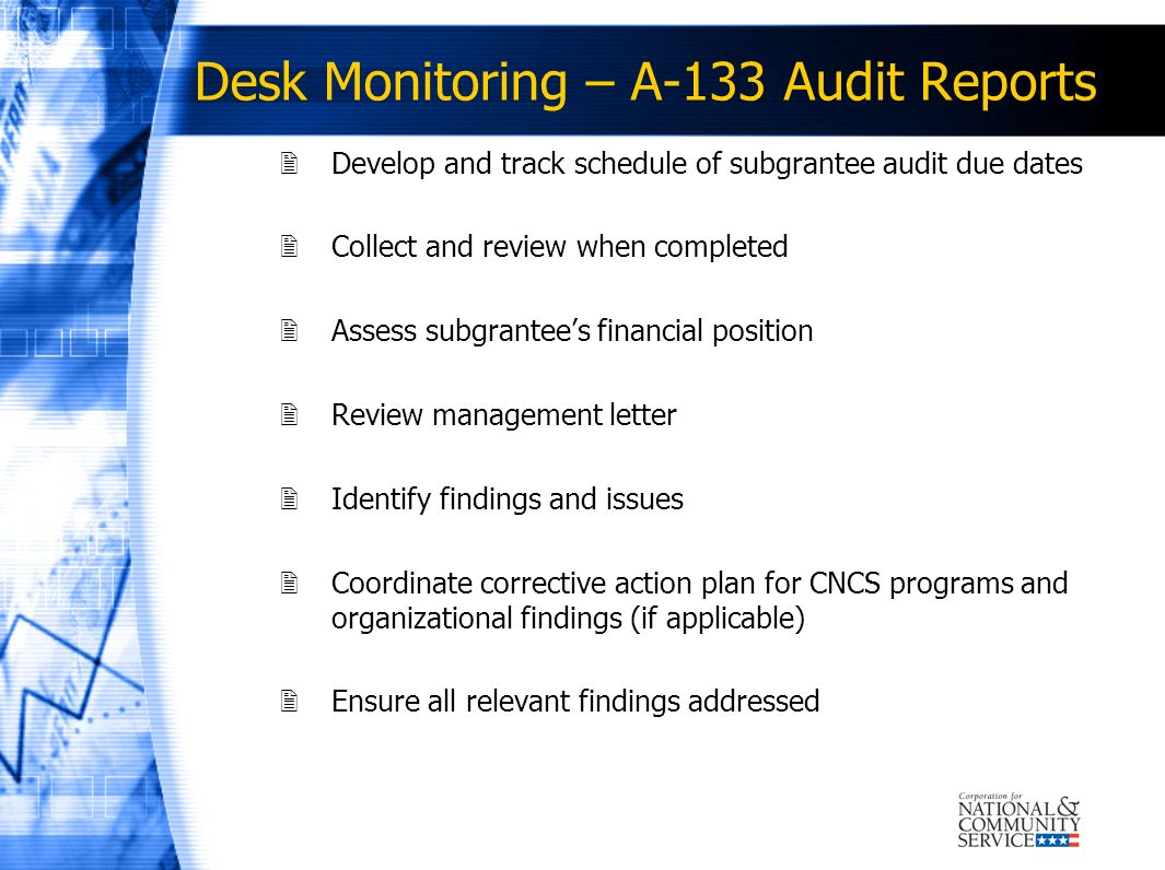 Desk Monitoring – A-133 Audit Reports