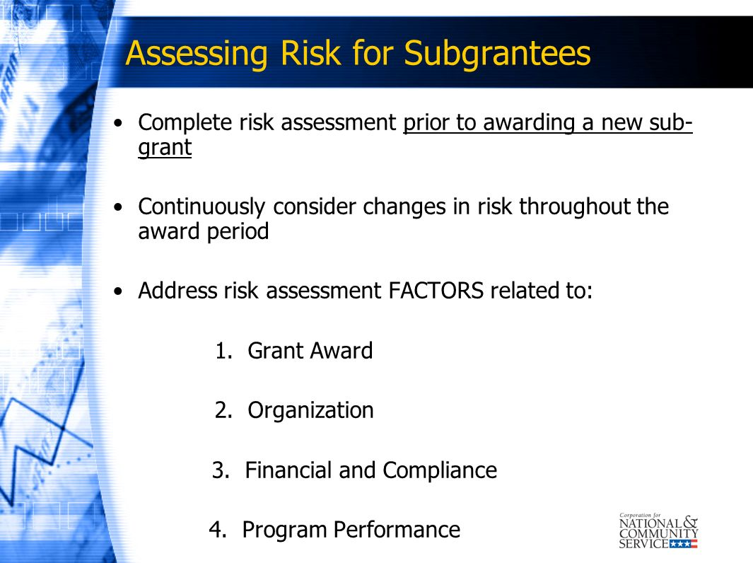 Assessing Risk for Subgrantees
