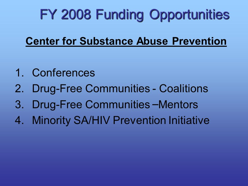 FY 2008 Funding Opportunities