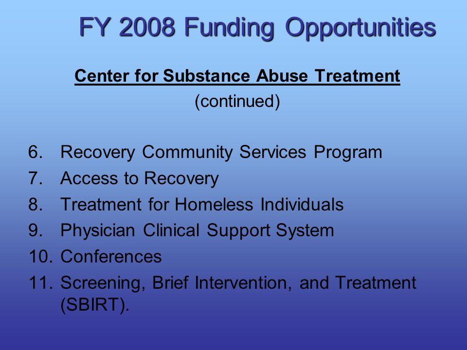 FY 2008 Funding Opportunities