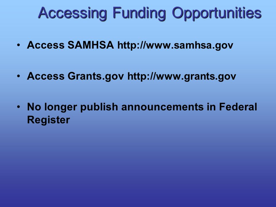 Accessing Funding Opportunities