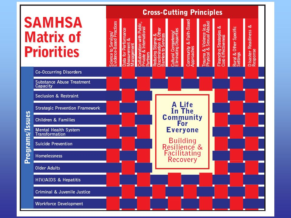 The SAMHSA Matrix of Priorities shows how we operationalize the vision and mission: SAMHSA's budget, policy, and program activities – including the discretionary grant programs and communications initiatives – have been aligned to reflect our core priority areas: co-occurring mental and substance abuse disorders, substance abuse treatment capacity, seclusion and restraint, strategic prevention framework for substance abuse, children and families, mental health system transformation, suicide prevention, homelessness, older adults, HIV/AIDS & hepatitis, criminal & juvenile justice, and workforce development. This matrix serves as a guidepost for budget formulation, program development, and resource allocation at SAMHSA. These priorities are in alignment with the President's priorities and those of the Secretary of Dept. of Health and Human Services.
