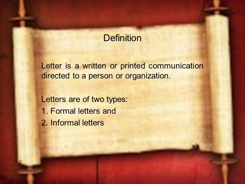 Formal Letter Writing Definition
