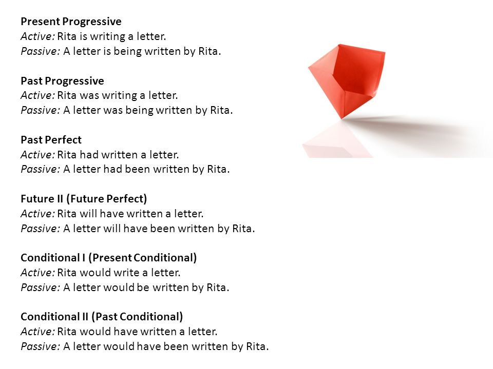 Present Progressive Active: Rita is writing a letter. Passive: A letter is being written by Rita. Past Progressive.