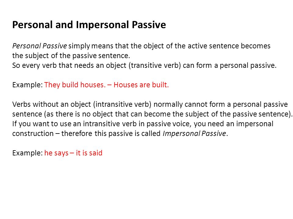 Personal and Impersonal Passive
