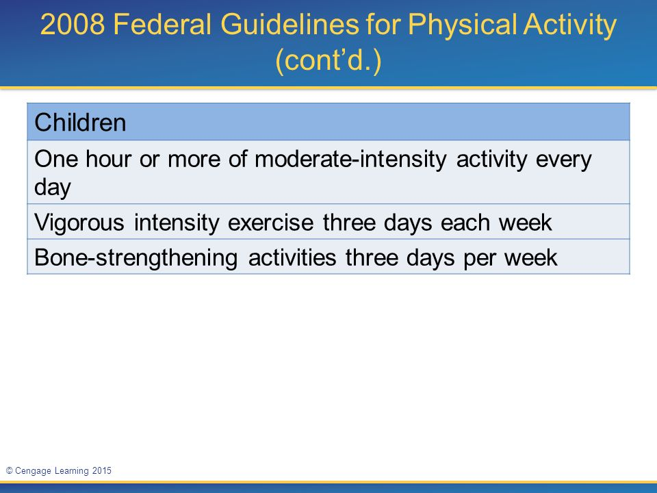2008 Federal Guidelines for Physical Activity (cont'd.)