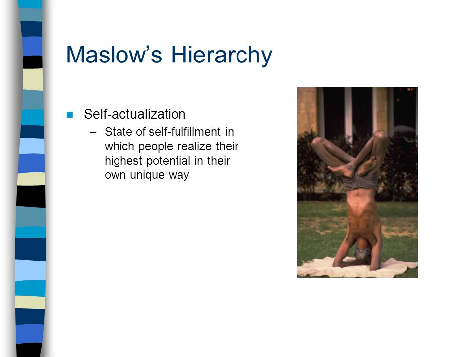 the importance of self actualization in students for their education Maslow's final stage is self-actualization in theory, if students have all of the previous stages met, they can achieve and create at their full potential do we automatically assume that all students should be achieving at their full potential once they enter the classroom we know that this is not a reality, we just need to look at.