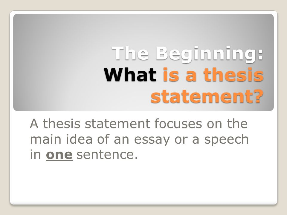 thesis beginnings Tips for how to start a writing assignment welcome to the purdue thinking about your assignment in terms of the rhetorical situation can help guide you in the beginning of the writing process topic, audience once you have thesis statement just start writing don't feel.