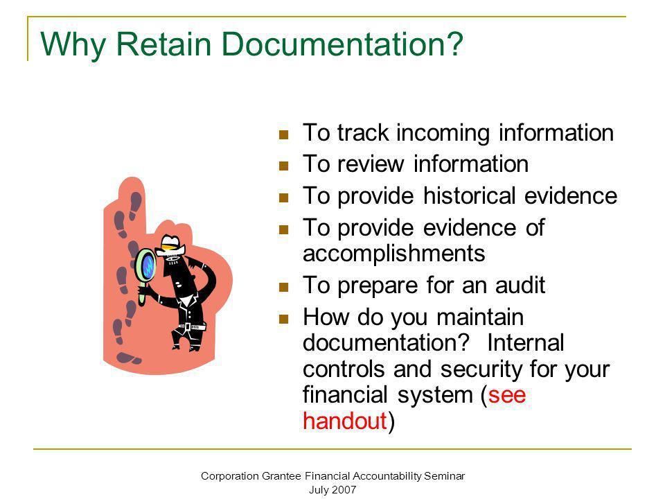 Why Retain Documentation