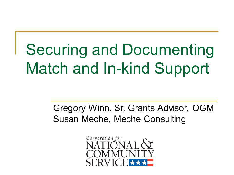 Securing and Documenting Match and In-kind Support